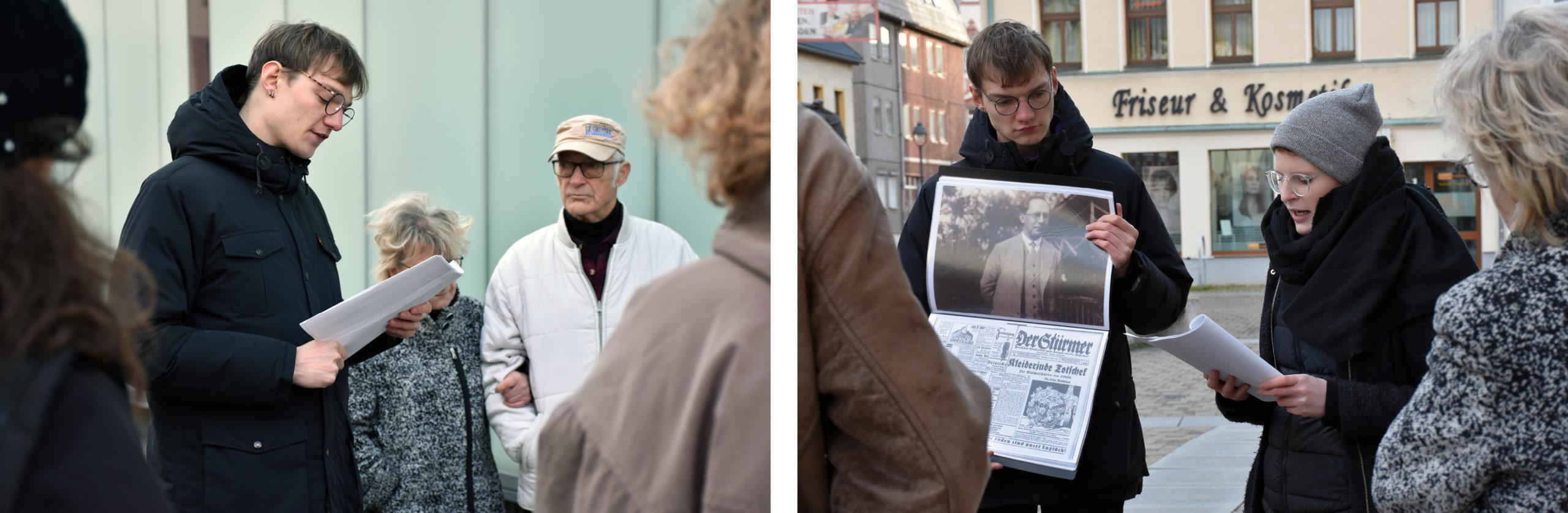 Ein Ehrenamtlicher hält einen Vortrag vor Publikum in der Stadt. // Zwei Ehrenamtliche präsentieren historisches Bildmaterial vor Publikum.