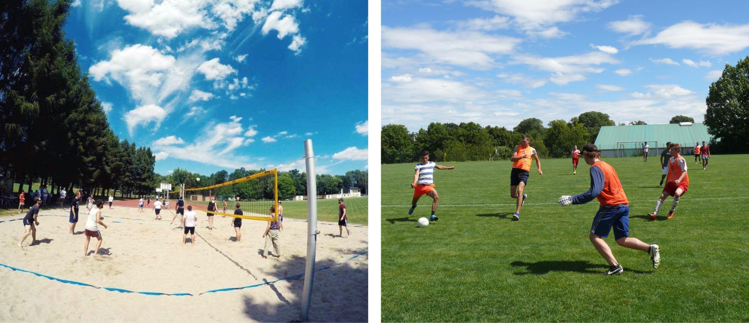 Ein Volleyballfeld und ein Fußballfeld mit Spieler*innen.