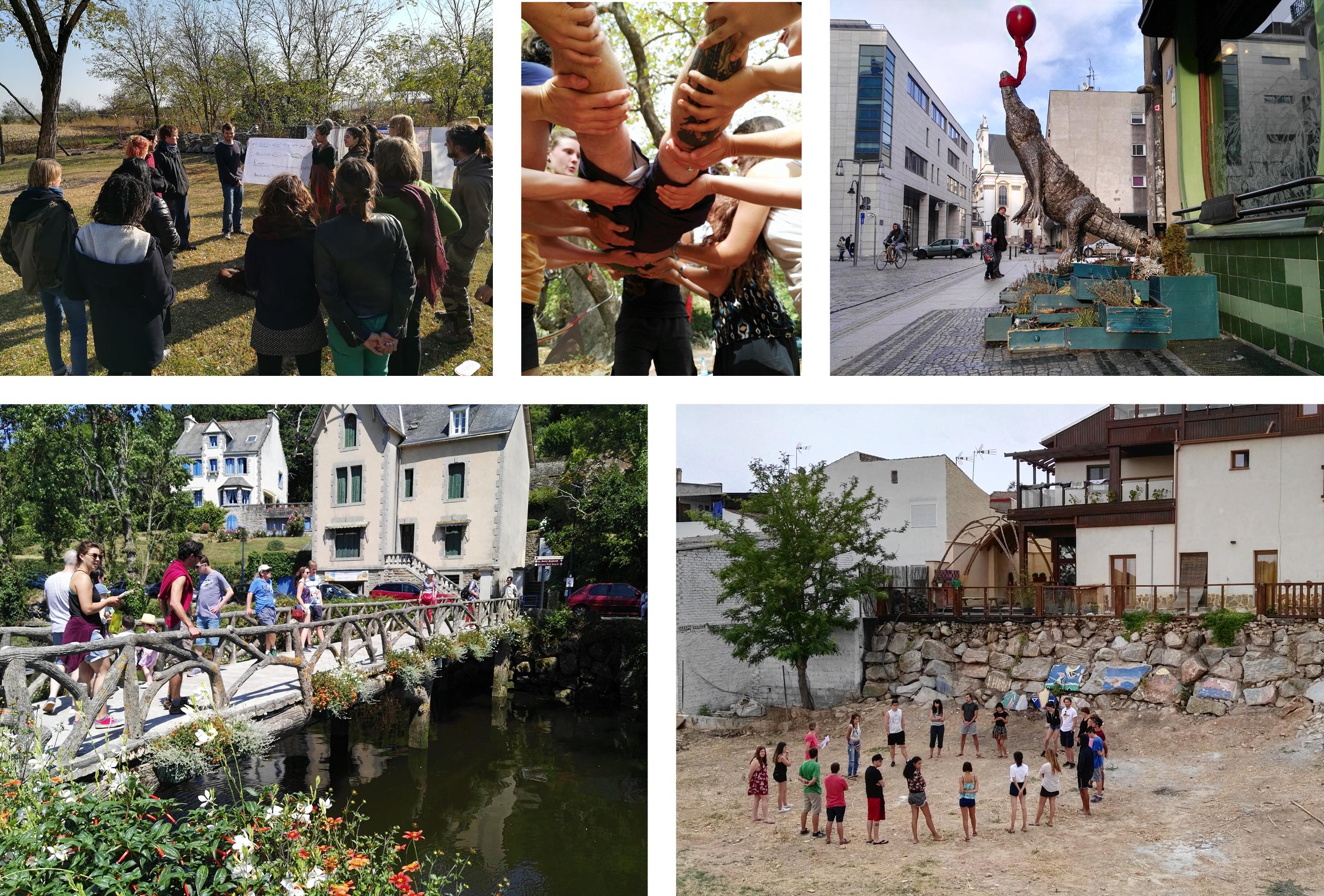 Junge Menschen auf einer Wiese bei der Präsentation von Flipcharts. // Junge Menschen tragen eine Person gemeinsam auf ihren Händen. // Stadtansicht mit der Skulptur eines Krokodils. // Personen auf einer kleinen Fußgängerbrücke.  // Junge Menschen, die in einem Kreis stehen.